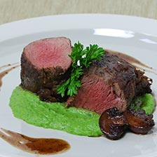 Wild Boar Medallions With Green Pea Pesto Recipe | Steaks and Game